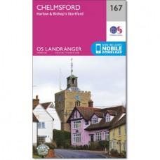 Ordnance Survey 167 - Chelmsford, Harlow & Bishop's Stortford